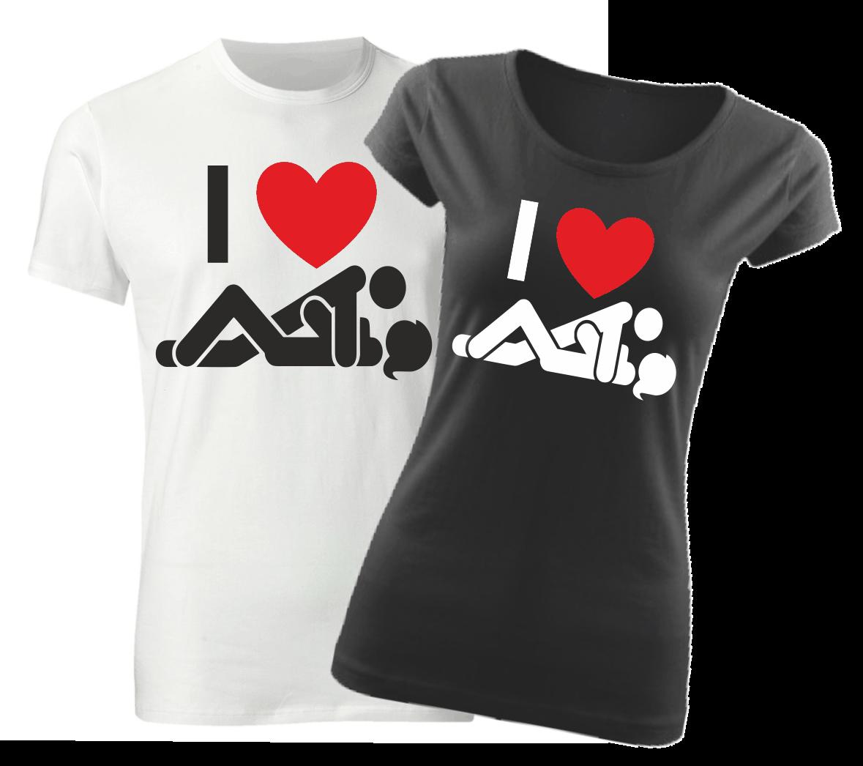 Vtipné tričko s potiskem - I love sex 0158611250