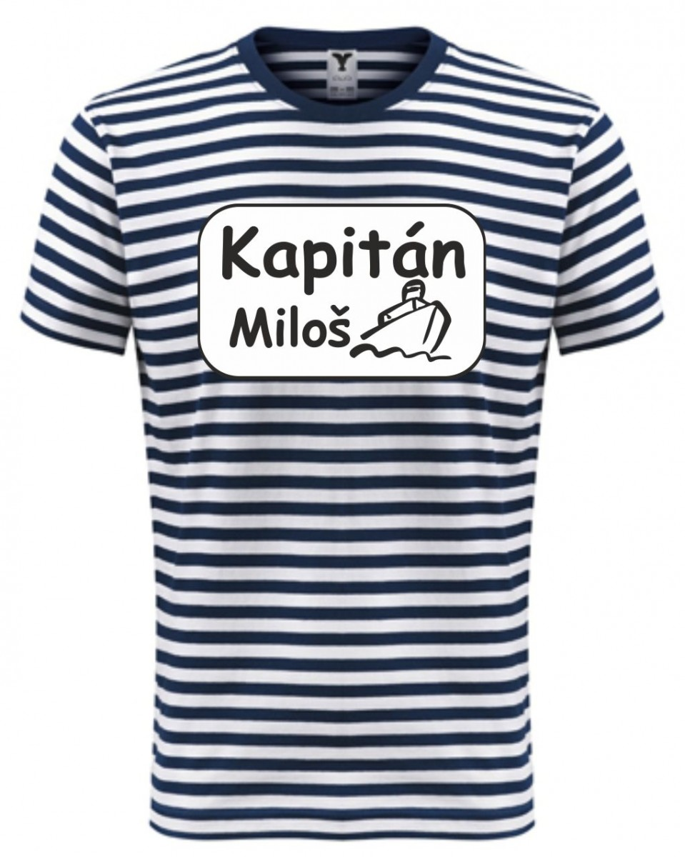bc456ec8338c Námořnické tričko s potiskem - Kapitán + tvé jméno ǀ Fajntričko.cz