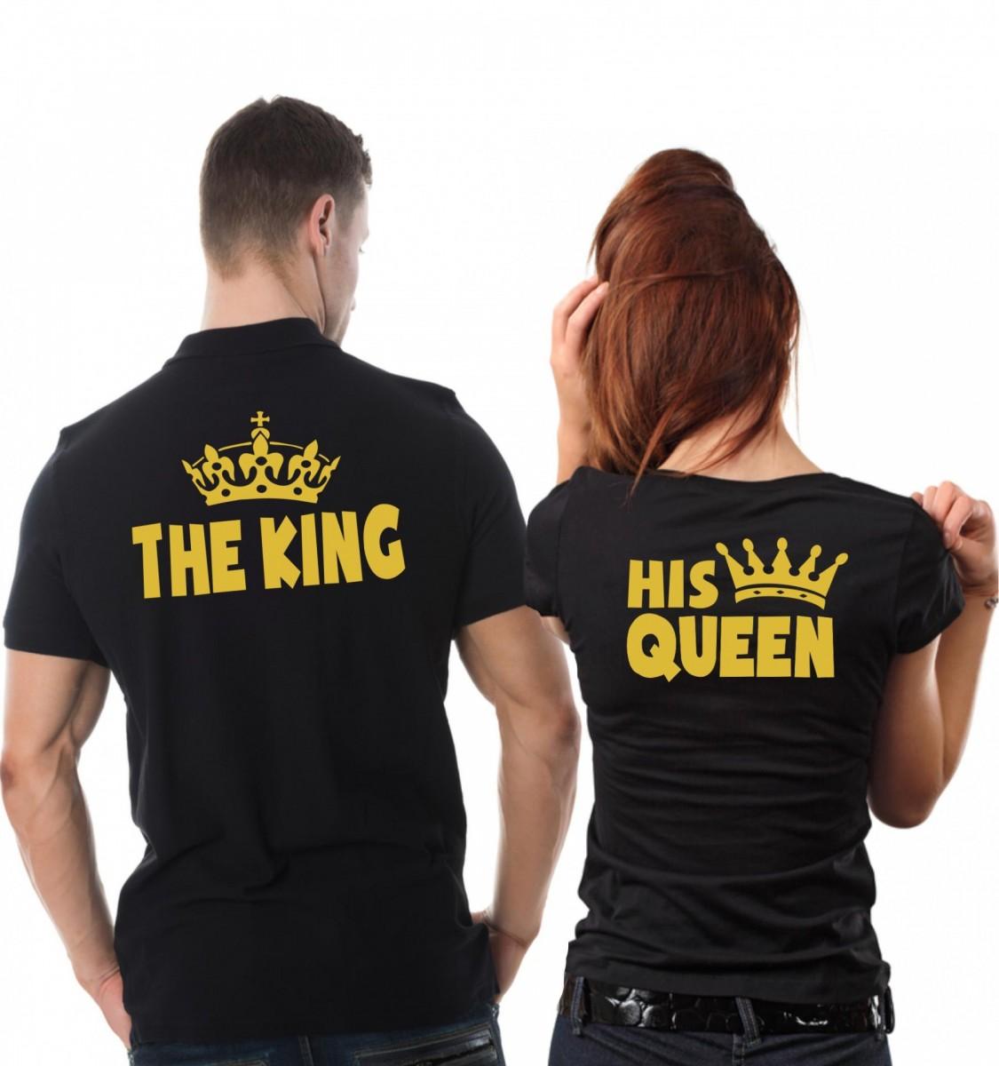 ae2183fd12e Partnerské trička - Pánské The King + Dámské His queen (dámské + pánské  tričko)