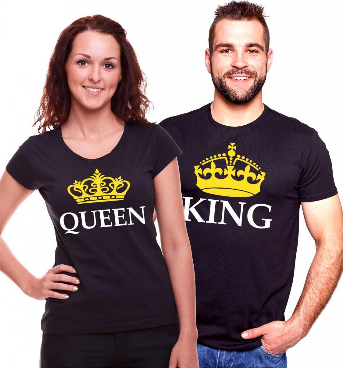 089b8e648 Originální partnerské: dámské / pánské tričko QUEEN / KING (král ...