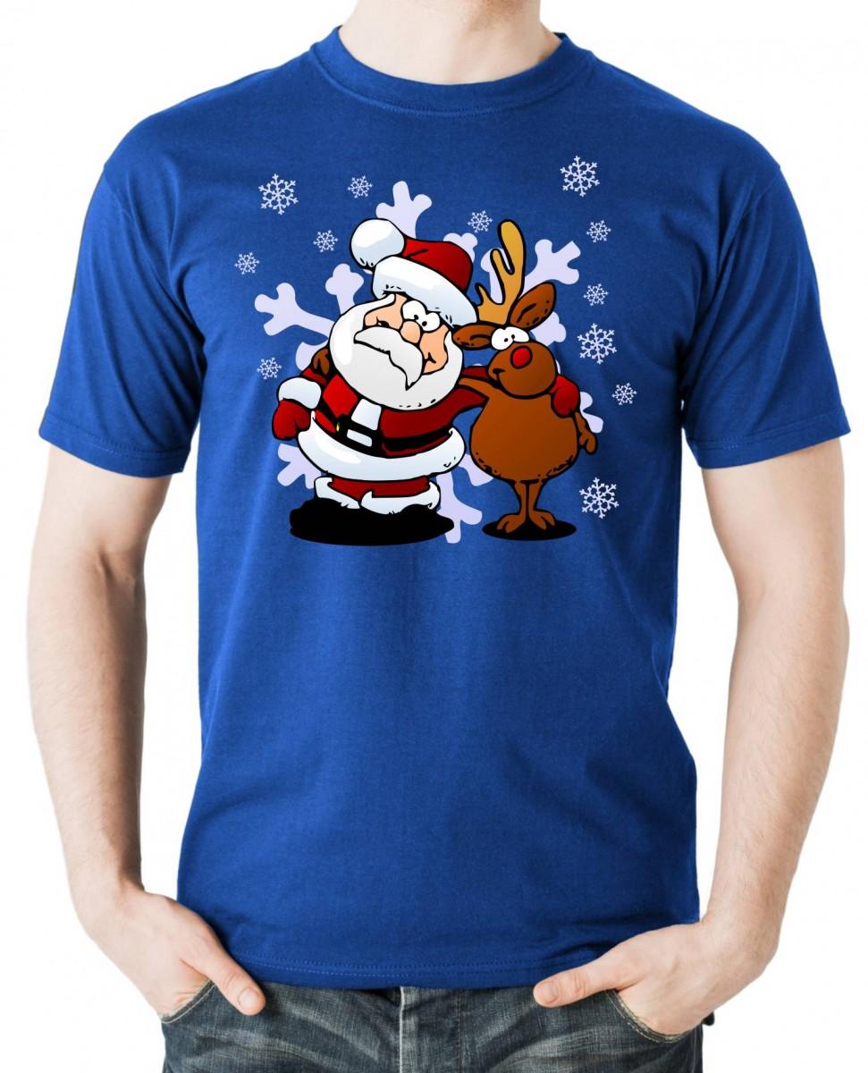 Vtipné a originální vánoční tričko s potiskem Santa a sobík ǀ ... 0a12357e30
