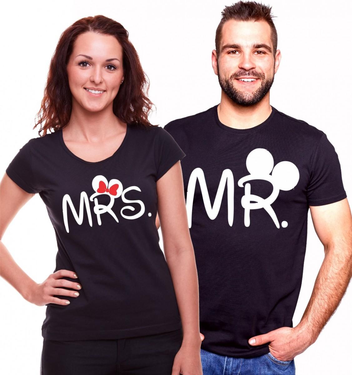 fe27df2d19e3 Partnerská trička - Mr. Mrs. Mickey valentínska trička