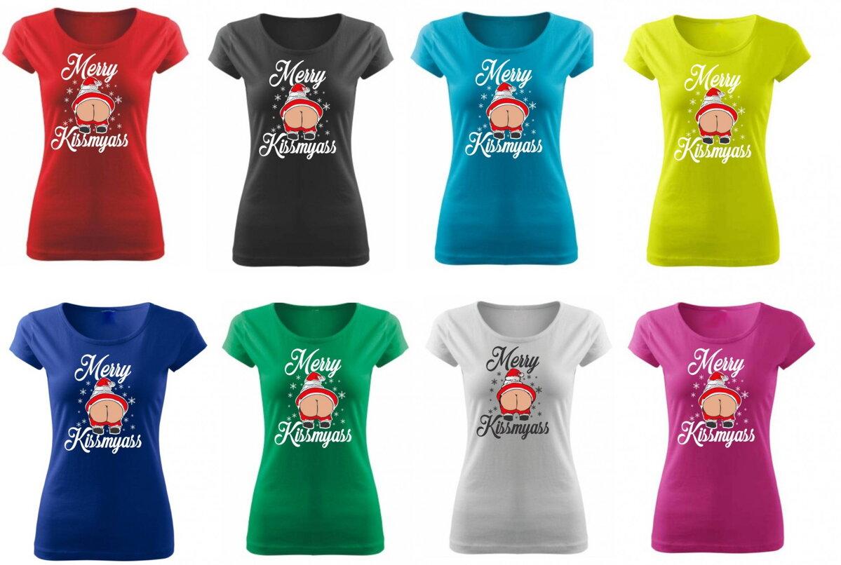 Vtipné a originální vánoční tričko s potiskem Merry kiss my ass ǀ ... c607b4f058