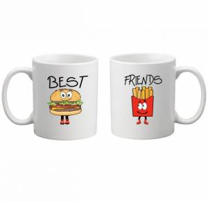 Sada: 2 hrnky - BEST FRIENDS - FAST FOOD